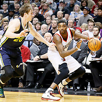 06 December 2013: Portland Trail Blazers small forward Dorell Wright (1) drives past Utah Jazz shooting guard Gordon Hayward (20) during the Portland Trail Blazers 130-98 victory over the Utah Jazz at the Moda Center, Portland, Oregon, USA.