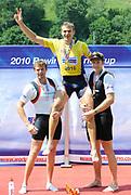 Lucerne, Switzerland.  Men's Single Sculls medalist   left , GBR M1X Alan CAMPBELL Silver Medalist,  Centr lifted CZE M1X, Ondjrej SYNEK and right NZL M1X. Mahe DRYSDALE. Men's Single Sculls. 2010 FISA World Cup. Lake Rotsee, Lucerne.  13:59:58   Sunday  11/07/2010.  [Mandatory Credit Peter Spurrier/ Intersport Images]