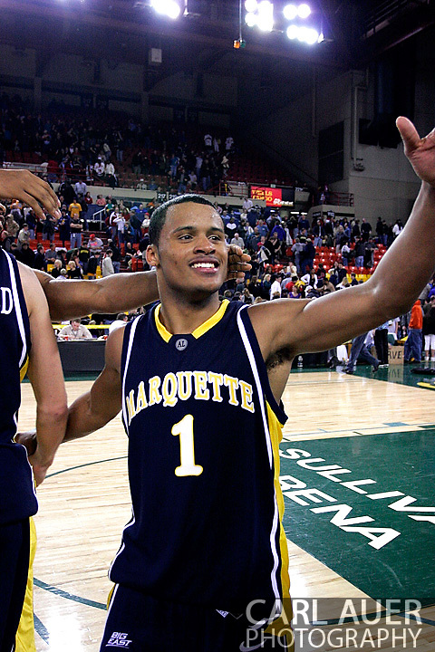 26 November 2005: Dominic James, freshman guard for Marquette University in the Marquette Golden Eagle 92-89 overtime victory over the University of South Carolina Gamecocks to win the championship at the Great Alaska Shootout in Anchorage, Alaska.