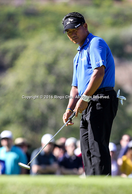 K.J. Choi of South Korea, plays in the Final Round of the Northern Trust Open at the Riviera Country Club on February 21, 2016, in Los Angeles,(Photo by Ringo Chiu/PHOTOFORMULA.com)<br /> <br /> Usage Notes: This content is intended for editorial use only. For other uses, additional clearances may be required.