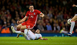 CARDIFF, WALES - Thursday, October 11, 2018: Wales' Connor Roberts is brought down in the box but no penalty was awarded during the International Friendly match between Wales and Spain at the Principality Stadium. (Pic by Laura Malkin/Propaganda)