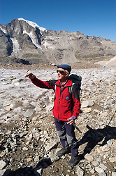 Switzlerland: Hiking the Swiss Glaciers near St. Moritz, taking the Diavolezza Morteratsch hike..Guide Paul Nigg on the Pers Glacier.  Model Released..Photo copyright Lee Foster, 510/549-2202, lee@fostertravel.com, www.fostertravel.com..Photo #: swisse11466