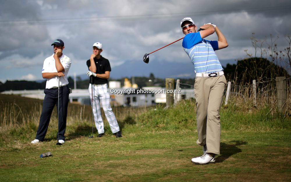 Mathew Perry on day two of the Taranaki Energy Open, New Plymouth Golf Club, New Zealand. Thursday 11 April 2013. Photo: John Cowpland / photosport.co.nz