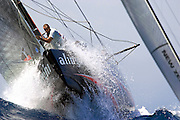 Valencia/Spain/AMERICA'S CUP 2007, VALENCIA, SPAIN, ALINGHI v EMIRATES TEAM NEW ZEALAND,Race 5 - /29JUN07. In 15 knots of wind, Alinghi lead up to the second windward mark after ETNZ had big problems with their spinnaker on the first downwind leg.