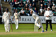 Jack Leach of Somerset bowling during the Specsavers County Champ Div 1 match between Somerset County Cricket Club and Lancashire County Cricket Club at the Cooper Associates County Ground, Taunton, United Kingdom on 14 September 2017. Photo by Graham Hunt.