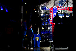 A young fan and his father look at a concession selling match merchandise prior to kick off - Mandatory by-line: Ryan Hiscott/JMP - 10/12/2019 - FOOTBALL - Stamford Bridge - London, England - Chelsea v Lille - UEFA Champions League group stage
