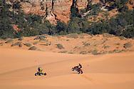 All terrain vehicles (ATV) at Coral Pink Sand Dunes State Park, near Kanab, Kane County, Southern Utah