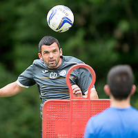St Johnstone Pre-Season Training...07.07.14<br /> Assistant Manager Callum Davidson gets in some heading practice<br /> Picture by Graeme Hart.<br /> Copyright Perthshire Picture Agency<br /> Tel: 01738 623350  Mobile: 07990 594431