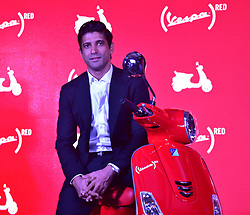 October 3, 2017 - Mumbai, India - Vespa launches new (RED)® bike in India with Bollywood Actor and UN Women Goodwill Ambassador Farhan Akhtar raising funds to fight AIDS in India at hotel Taj Lands End, Bandra in Mumbai. (Credit Image: © Azhar Khan/Pacific Press via ZUMA Wire)
