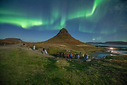 Northern lights (aurora) at the Kirkjufell mountain.