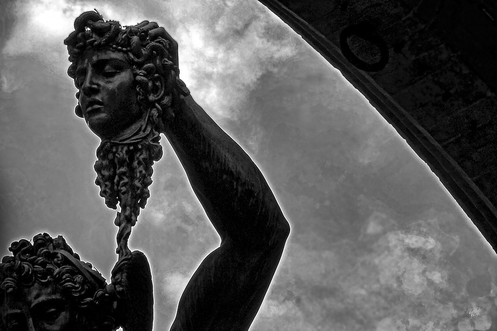 "A monochrome close-up of Benvenuto Cellini's masterpiece, ""Perseus with the Head of Medusa"" in Florence Italy."