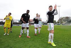 Yeovil Town's Joe Edwards applaudes the fans - Photo mandatory by-line: Harry Trump/JMP - Mobile: 07966 386802 - 25/04/15 - SPORT - FOOTBALL - Sky Bet League One - Yeovil Town v Port Vale - Huish Park, Yeovil, England.