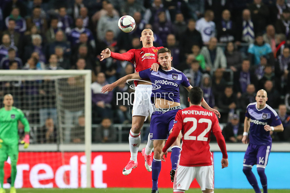 Zlatan Ibrahimovic Forward of Manchester United battles in the air and wins a header during the UEFA Europa League Quarter-final, Game 1 match between Anderlecht and Manchester United at Constant Vanden Stock Stadium, Anderlecht, Belgium on 13 April 2017. Photo by Phil Duncan.