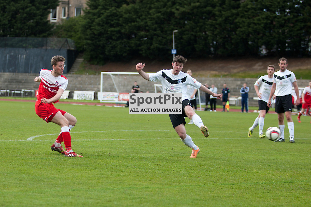 Martin McLean scores a goal for Brora in the Edinburgh City v Brora Rangers Pyramid Play Off at Meadowbank Stadium in Edinburgh 25 April 2015<br /> <br /> (c) Russell G Sneddon / SportPix.org.uk
