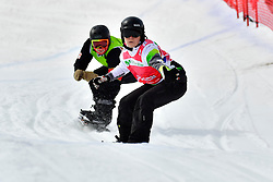 TUDHOPE Ben, SB-LL2, AUS, MASSIE Alex, CAN, Snowboard Cross at the WPSB_2019 Para Snowboard World Cup, La Molina, Spain