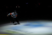 KELOWNA, CANADA - OCTOBER 5:  Referee Chris Crich enters the ice at the start of the game between the Victoria Royals at the Kelowna Rockets on October 5, 2018 at Prospera Place in Kelowna, British Columbia, Canada.  (Photo by Marissa Baecker/Shoot the Breeze)  *** Local Caption ***