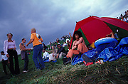 Festival goers in a tent at Dance Valley Holland August 2002