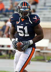 Virginia linebacker Clint Sintim (51) in pre-game warmups.  The Virginia Cavaliers defeated the Maryland Terrapins 31-0 in NCAA football at Scott Stadium on the Grounds of the University of Virginia in Charlottesville, VA on October 4, 2008.