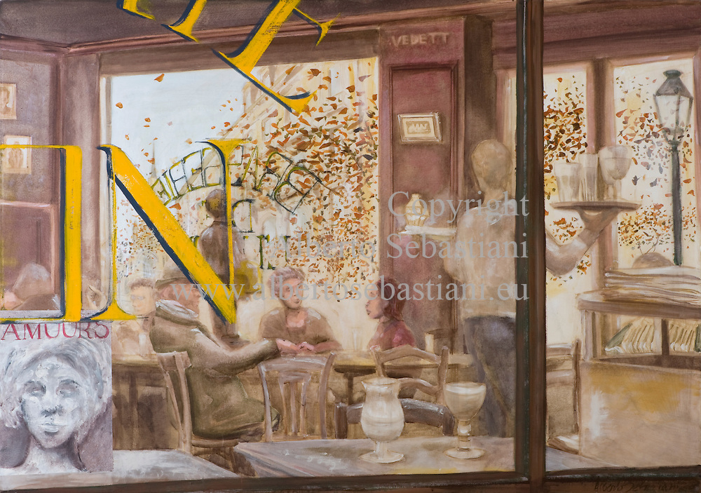A painting representing the view of the inside of a public place through the window in an european town; hand painted picture. this painting was created as a hand made work following exclusively my own fantasy and personal inspiration; it is an original composition of which I'm the sole author