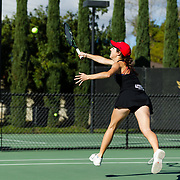 10 November 2017:  The San Diego State Aztecs women's tennis team hosts it's annual Fall Classic II. San Diego State's Abigail Mulbarger reaches out to return a volley during a doubles match Friday morning.<br /> www.sdsuaztecphotos.com