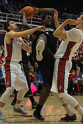 Colorado's Wesley Gordon is fouled by Stanford's Rosco Allen, right, during the first half of an NCAA college basketball game in Stanford, Calif., Sunday, Jan. 3, 2016. (AP Photo/Jason O. Watson)