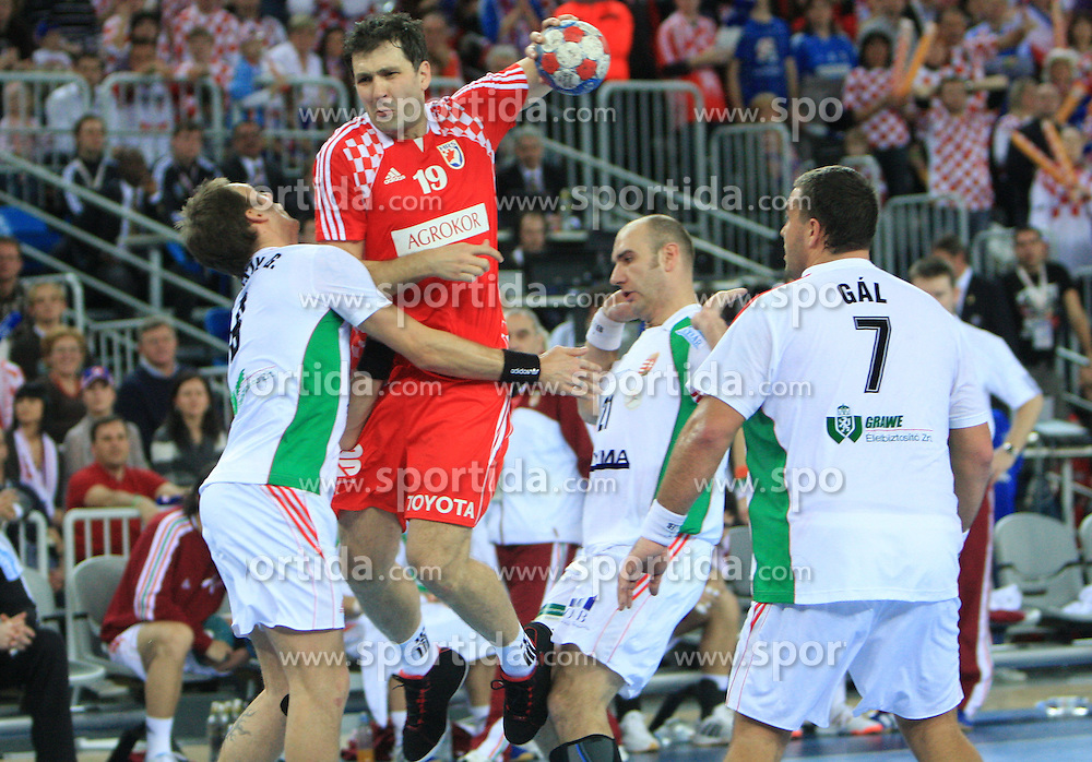 Petar Metlicic (19) of Croatia during 21st Men's World Handball Championship 2009 Main round Group I match between National teams of Croatia and Hungary, on January 24, 2009, in Arena Zagreb, Zagreb, Croatia.  (Photo by Vid Ponikvar / Sportida)