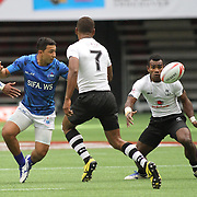 Fiji's Jerry Tuwai intercepts a Samoa turnover for a long sprint and a try.  Canada 7's Vancouver, British Columbia, Day 1.   Photo by Barry Markowitz, 4/12/16, 10:30 am