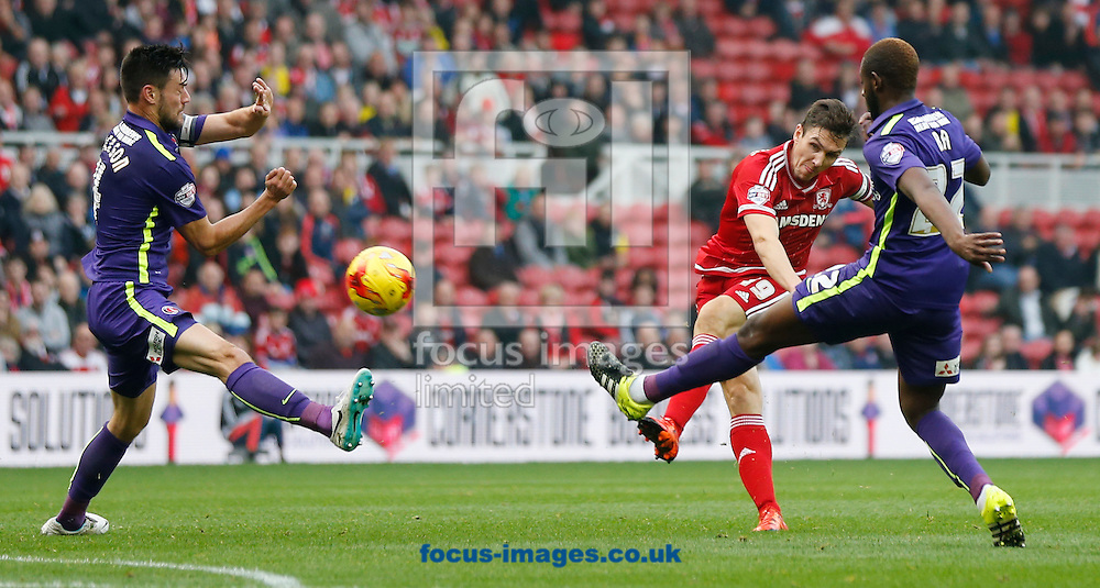 Stewart Downing (2nd r) of Middlesbrough shooting during the Sky Bet Championship match at the Riverside Stadium, Middlesbrough<br /> Picture by Simon Moore/Focus Images Ltd 07807 671782<br /> 31/10/2015