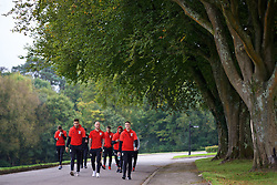 CARDIFF, WALES - Friday, October 7, 2016: Wales' Hal Robson-Kanu, David Cotterill and James Chester during a team walk at the Vale Resort ahead of the 2018 FIFA World Cup Qualifying Group D match against Georgia. (Pic by David Rawcliffe/Propaganda)