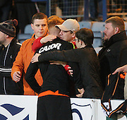 Dundee United fans comfort Simon Murray as his side are relegated at the home of their local rivals Dens Park  - Dundee v Dundee United, Ladbrokes Scottish Premiership at Dens Park<br /> <br /> <br />  - &copy; David Young - www.davidyoungphoto.co.uk - email: davidyoungphoto@gmail.com