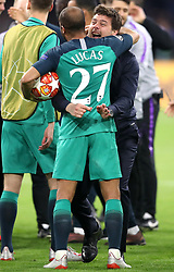 Tottenham Hotspur's Lucas Moura (left) and manager Mauricio Pochettino celebrate after the final whistle during the UEFA Champions League Semi Final, second leg match at Johan Cruijff ArenA, Amsterdam.