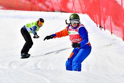 FINA PAREDES Arstrid, SB-LL2, ESP, van BEEK Renske, NED, Snowboard Cross at the WPSB_2019 Para Snowboard World Cup, La Molina, Spain
