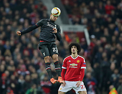 MANCHESTER, ENGLAND - Wednesday, March 16, 2016: Liverpool's Emre Can in action against Manchester United's Marouane Fellaini during the UEFA Europa League Round of 16 2nd Leg match at Old Trafford. (Pic by David Rawcliffe/Propaganda)
