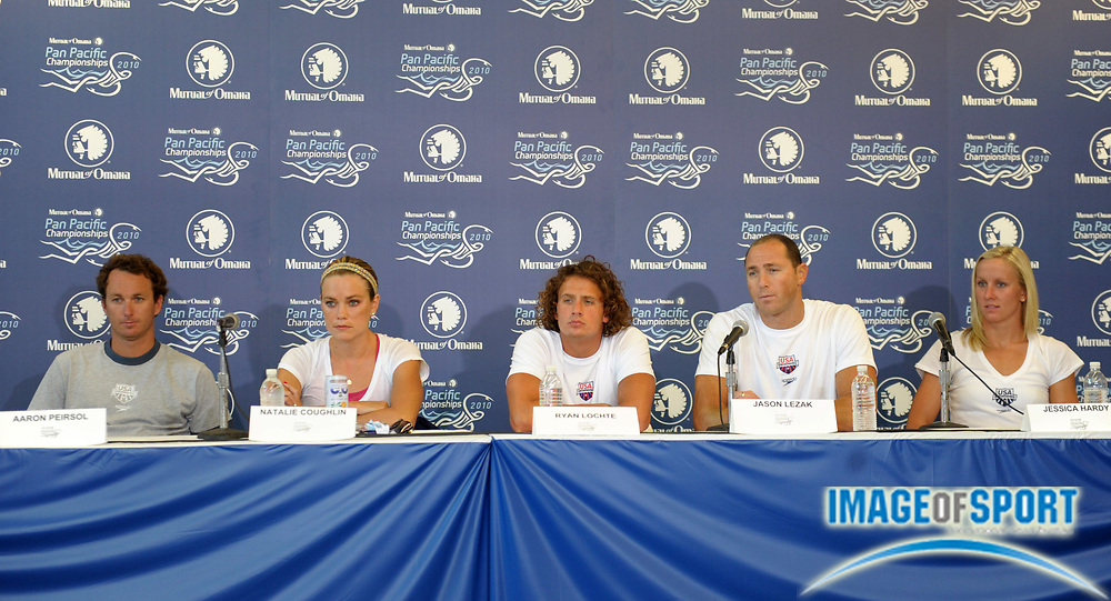 Aug 16, 2010; Irvine, CA, USA; United States swimmers at the 2010 Pan Pacific championships press conference at the William at Woollett Jr. Aquatics Center. From left: Aaron Peirsol, Natalie Coughlin, Ryan Lochte, Jazon Lezak and Jessica Hardy. Photo by Image of Sport
