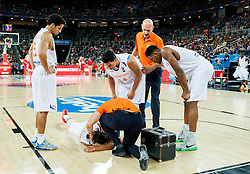 Injured Worthy de Jong of Netherlands during basketball match between Netherlands and Croatia at Day 5 in Group C of FIBA Europe Eurobasket 2015, on September 9, 2015, in Arena Zagreb, Croatia. Photo by Vid Ponikvar / Sportida