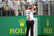 Sandy Lyle on the 1st tee during The Senior Open Championship, Sunningdale Golf Club, Sunningdale, United Kingdom on 23 July 2015. Photo by Phil Duncan.