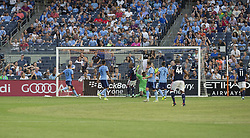August 20, 2017 - New York, New York, United States - Teal Bunburry (10) of New England Revolution scores goal during regular MLS game against NYC FC on Yankee stadium NYC FC won 2 - 1  (Credit Image: © Lev Radin/Pacific Press via ZUMA Wire)