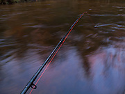 Fly rod rigged with Amnesia line for chuck n duck fishing for salmon on the Pere Marquette river in Michigan.