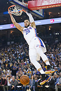 January 31, 2019; Oakland, CA, USA; Philadelphia 76ers guard Ben Simmons (25) dunks the basketball against the Golden State Warriors during the first quarter at Oracle Arena.
