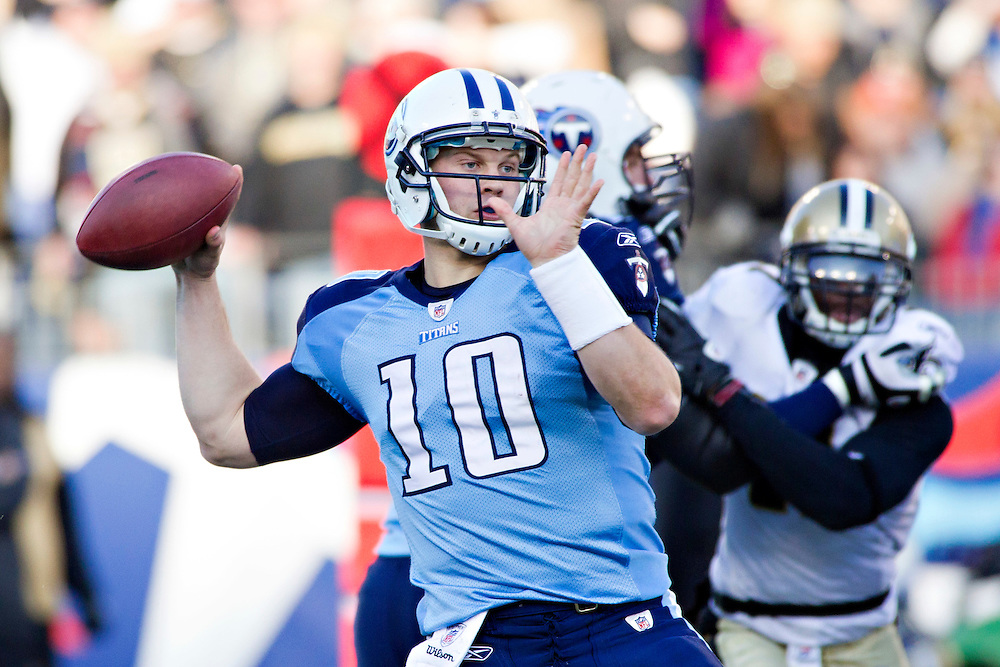 NASHVILLE, TN - DECEMBER 11:   Jake Locker #10 of the Tennessee Titans throws a pass against the New Orleans Saints at LP Field on December 11, 2011 in Nashville, Tennessee.  The Saints defeated the Titans 22-17.  (Photo by Wesley Hitt/Getty Images) *** Local Caption *** Jake Locker