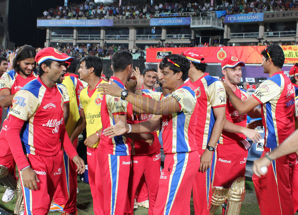 RCB team mates r chearing on the winning of the game during match 24 of the Indian Premier League ( IPL ) between the Kolkata Knight Riders and the Royal Challengers Bangalore held at Eden Gardens Cricket Stadium in Kolkata, India on the 22nd April 2011..Photo by Saikat das/BCCI/SPORTZPICS