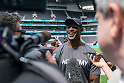 ahir Whitehead (LB, Oakland Raiders) interviews at the NFL Academy, Stadium Showcase during the NFL Media Day held at Tottenham Hotspur Stadium, London, United Kingdom on 2 July 2019.