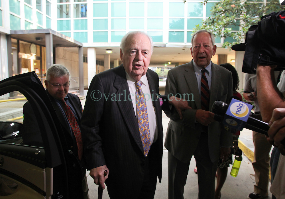 01 June  2015. New Orleans, Louisiana. <br /> Tom Benson, billionaire owner of the NFL New Orleans Saints, the NBA New Orleans Pelicans, various Mercedes dealerships, banks, property assets and a slew of business interests leaves New Orleans Civil District Court where he is attending a hearing to determine his level of competency to manage his business empire. Benson changed his succession plans and  decided to leave the bulk of his estate to third wife Gayle, sparking a controversial fight over control of the Benson business empire.<br /> Photo&copy;; Charlie Varley/varleypix.com