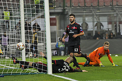 November 23, 2017 - Milan, Italy - Patrick Cutrone and Luca Antonelli of AC Milan on goal of André Silva during uefa Europa League AC Milan vs FK Austria Wien at San Siro Stadium (Credit Image: © Gaetano Piazzolla/Pacific Press via ZUMA Wire)