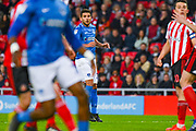 Gareth Evans of Portsmouth (26) watches his shot hit the post during the EFL Sky Bet League 1 first leg Play Off match between Sunderland and Portsmouth at the Stadium Of Light, Sunderland, England on 11 May 2019.