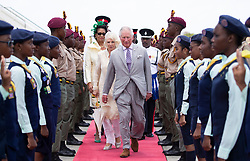 The Prince of Wales and the Duchess of Cornwall arrive at Maurice Bishop International Airport on a one day visit to the Caribbean island of Grenada.