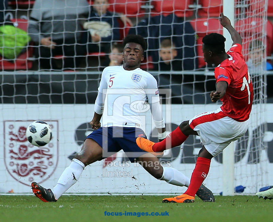 Felix Mambimbi (r) of Switzerland scoring the opening goal during the UEFA Euro U17 Championship match at the New York Stadium, Rotherham<br /> Picture by Simon Moore/Focus Images Ltd 07807 671782<br /> 10/05/2018