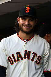 SAN FRANCISCO, CA - APRIL 18: Brandon Crawford #35 of the San Francisco Giants stands in the dugout before the game against the Arizona Diamondbacks at AT&T Park on April 18, 2016 in San Francisco, California. The Arizona Diamondbacks defeated the San Francisco Giants 9-7 in 11 innings.  (Photo by Jason O. Watson/Getty Images) *** Local Caption *** Brandon Crawford