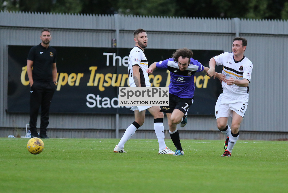 Mark Lamont beats Mark Docherty during the Dumbarton v East Fife Scottish League Cup group stage 19 July 2016<br /> <br /> (c) Andy Scott | SportPix.org.uk