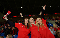 CARDIFF, WALES - Monday, October 9, 2017: Three female Wales supporters ahead of the 2018 FIFA World Cup Qualifying Group D match between Wales and Republic of Ireland at the Cardiff City Stadium. (Pic by Paul Greenwood/Propaganda)